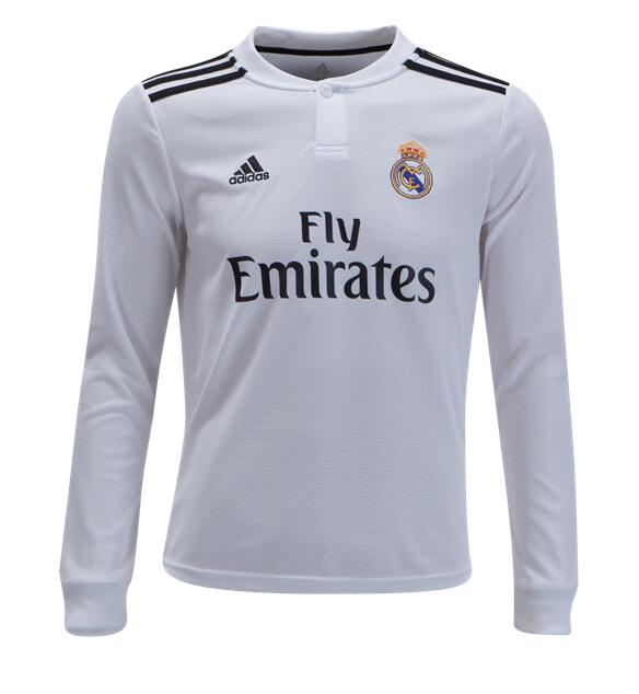 Camiseta Real Madrid 1a Equipacion 2018 Manga Larga JUNIOR